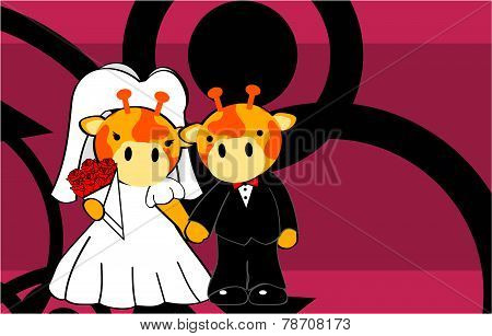 giraffe married cartoon background