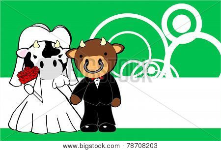 cow and bull married cartoon background