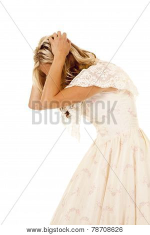 Woman Frustrated Side View In White Dress