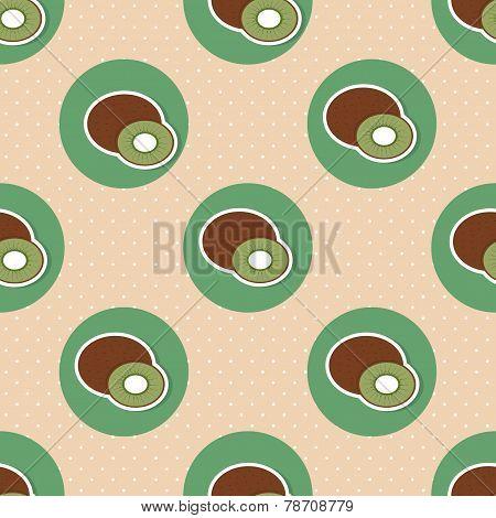 Kiwi Pattern. Seamless Texture With Ripe Kiwi