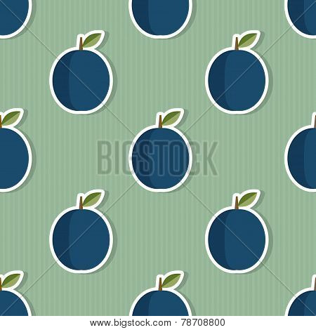 Plum Pattern. Seamless Texture With Ripe Plums