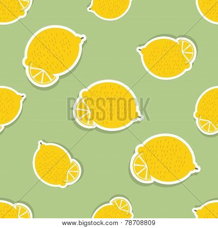 Lemon Pattern. Seamless Texture With Ripe Lemons