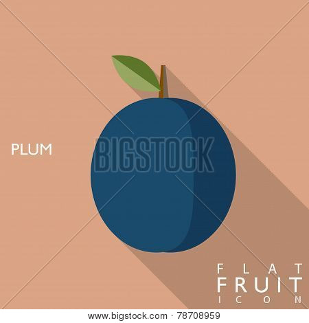 Plum Flat Icon Illustration With Long Shadow