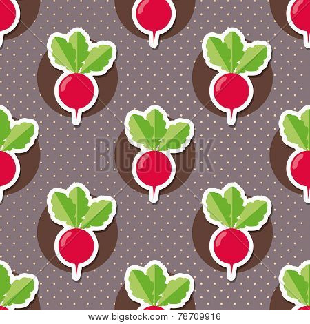 Radish Pattern. Seamless Texture With Ripe Radishes