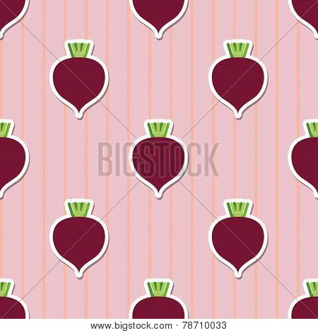Beet Pattern. Seamless Texture With Beetroot