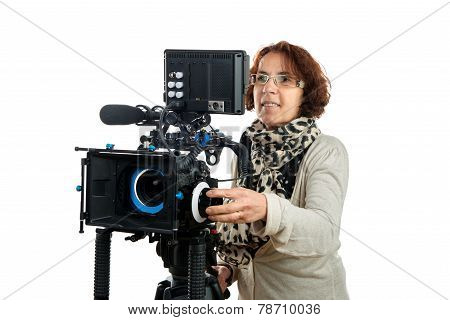 Woman And Professional Camera