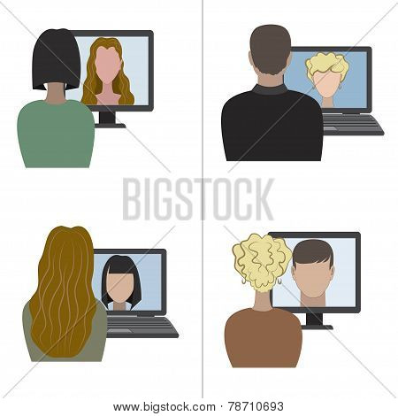 Two pair having a video chat through the internet.