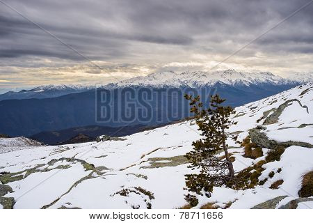 Icecold Winter Landscape At Sunset