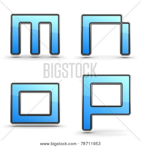 Letters M, N O, P - Set in Touchpad Style.