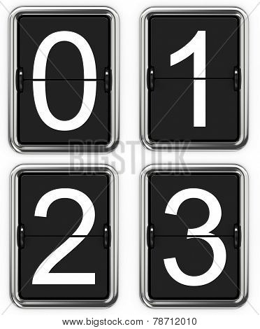 Digits 0, 1, 2, 3 on Mechanical Scoreboard.