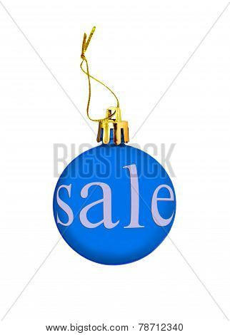 Blue Christmas Ball With Sale Tag.isolated.