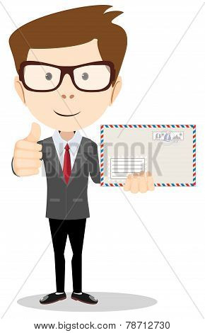 Office worker holding huge mailer envelope  giving the thumbs up and friendly smiling