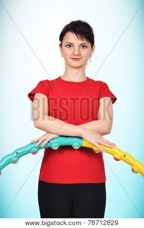 Girl Holding Color Hula Hoop