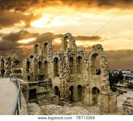 The Ruins Of The Roman Amphitheatre In The City Of El Jem, Tunisia
