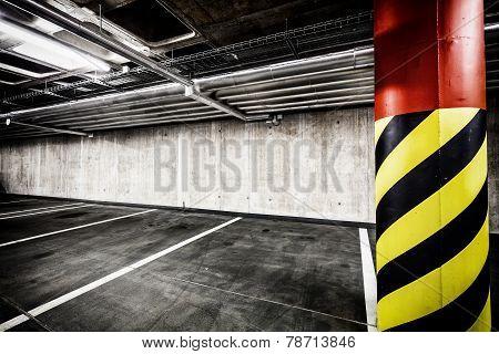 Concrete Wall Underground Parking Garage Interior