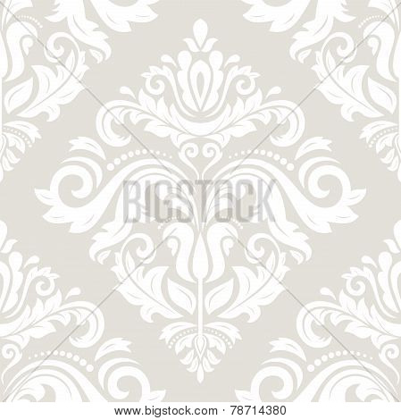 Grey Damask Seamless Vector Pattern. Orient Background