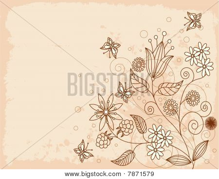 Summer  grange floral background