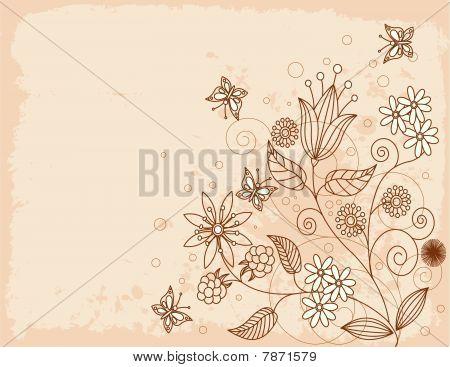 Summer  grange floral background