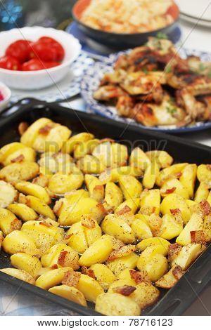 Potatoes On A Baking Sheet