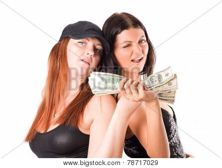Sexy Woman With Dollars