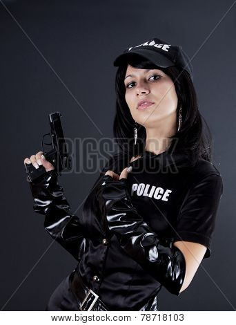 Sexy Woman In Police Uniform.