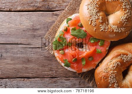 Traditional Bagel With Salmon And Cream Cheese Top View Horizontal