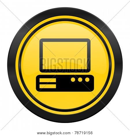 computer icon, yellow logo, pc sign