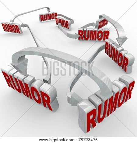 Rumor 3d words connected by arrows to illustrate people spreading misinformation through gossip, innuendo and slander with unconfirmed tabloid reporting or slander and lies