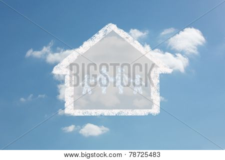 Cloud in shape of family against cloudy sky