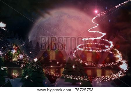 Quaint town with bright moon against christmas light design