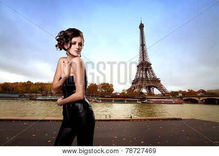 Girl In Red Dress In Paris