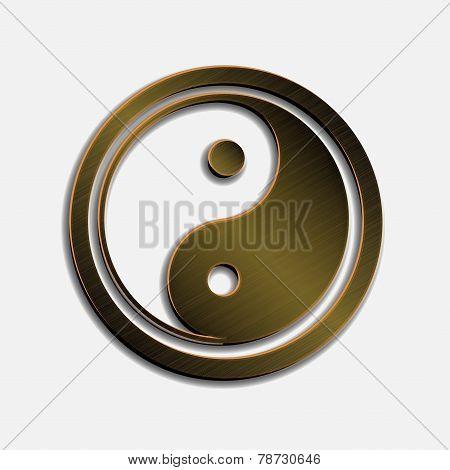 illustration of bronze metallic Jin Jang white