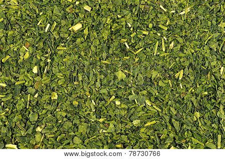 Macro Of Dried Green Tea Background Texture
