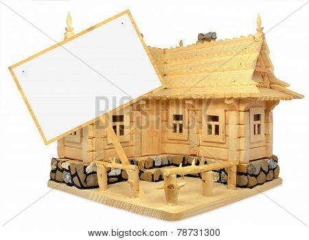 wooden house and table