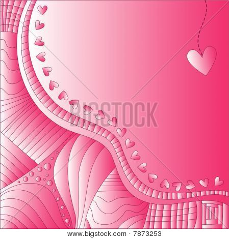 Pink vector background with hearts