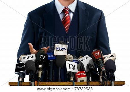 Businessman At Press Conference