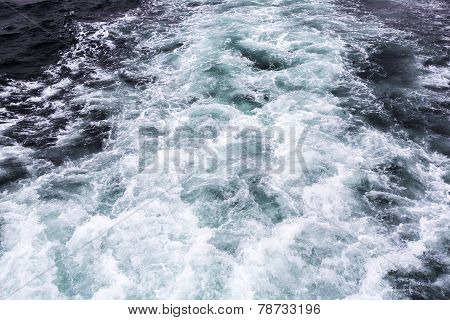 Wate Waves Behind Boat