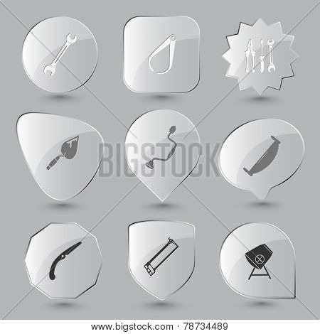 Industrial tools set. Vector glass buttons.