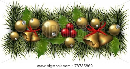 Winter background with spruce twigs and golden baubles. Christmas vector illustration. Eps10.