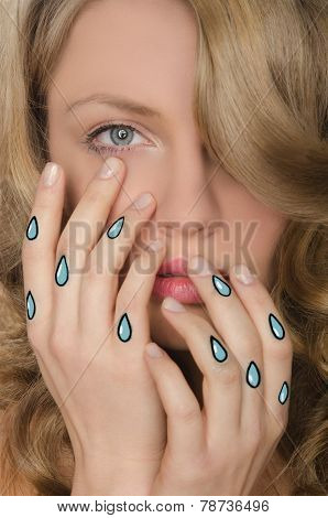 Crying Portrait Of Woman With Tears In Hands