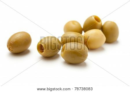 Heap Of Green Seedless Olives