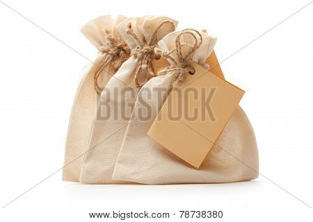 Small Textile Bags With Paper Card