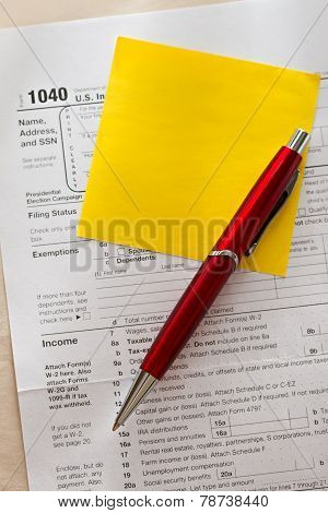 Tax Form, Red Pen And Sticker