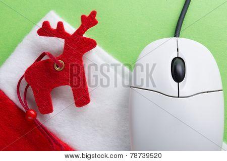 Santa Sock, Reindeer And Computer Mouse