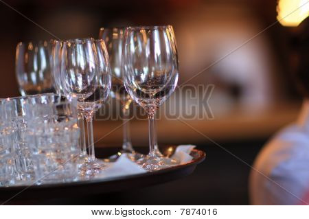 Empty Glasses Of Wine