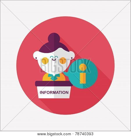 Information Counter Flat Icon With Long Shadow,eps10