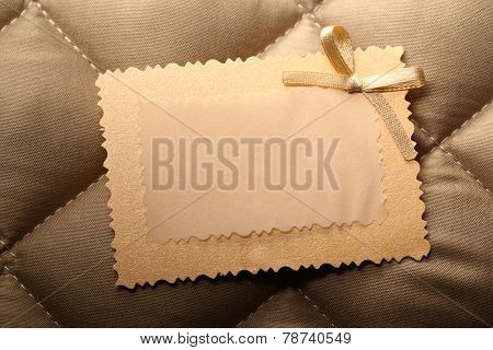 Blank Greeting Card On Checked Background