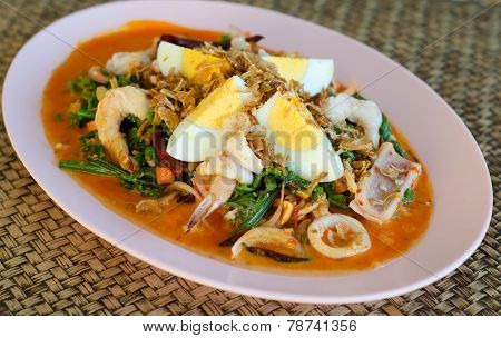 Vegetable Fern Spicy Salad, Thai Food