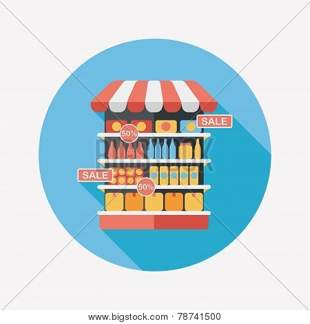 Shopping Grocery Store Flat Icon With Long Shadow,eps10