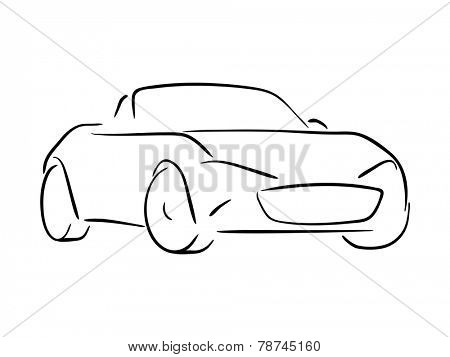 Sketch of a roadster vector illustration.